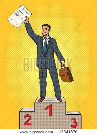 Businessman won contact first place pop art vector