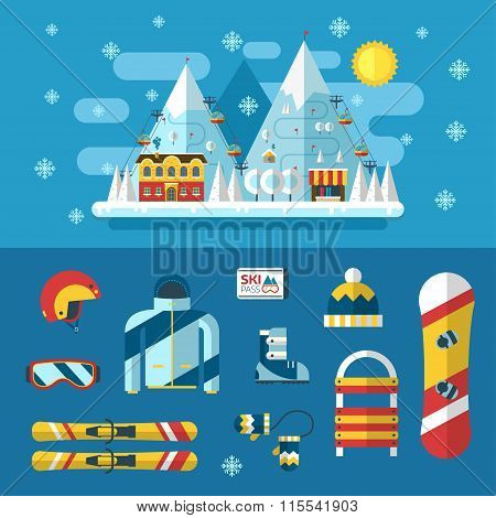Ski Resort And Winter Activity Flat Pictograms