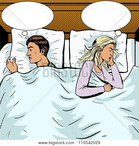Young couple in bed offended pop art style vector