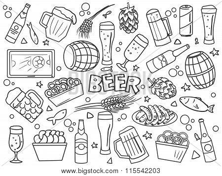 Beer elements line art style vector