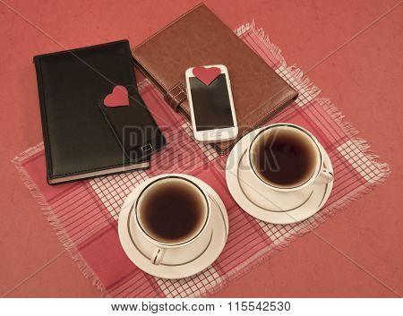 Organizers, Cellular, Two Cups, Hearts, Valentine's Day, Red Cloth