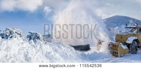 Snow Plow In Action Blowing The Heavy Snow
