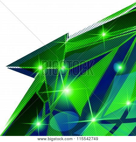 Plastic Pixilated Backdrop With Glossy 3D Cybernetic Model, Reflective background