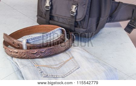 Men's Jeans, Brown Leather Belt,  Backpack Of The Photographer