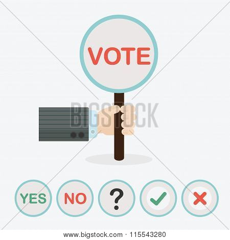 Male hand holding vertical circle paddle stick and word VOTE - with extra question mark check mark c