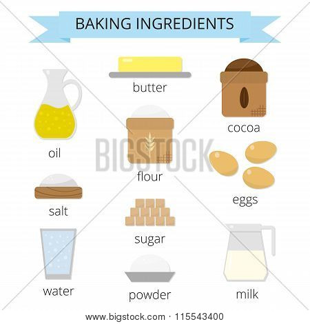 Baking ingredients set.
