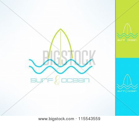 Vector surfing company label logo made in modern clean and bright design. Surf and wave tshirt print