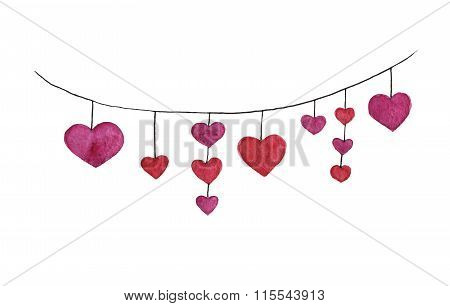 Watercolor hand drawn heart garland with red hearts