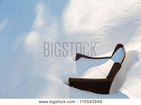 Outdoors Garden Chair Buried In Snow Drift