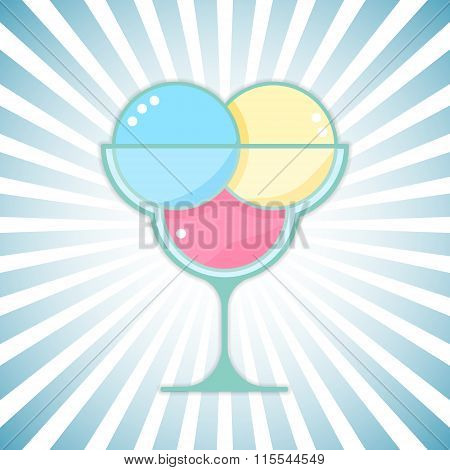 Vector ice-cream on modern outburst background. Bright ice cream dessert design element