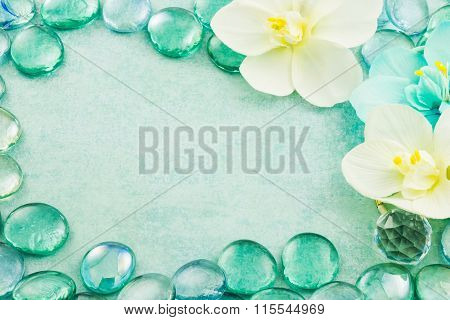 Blue Glass Drops Aqua With White Flowers Orchid Background