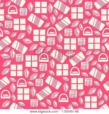 Seamless pattern with chocolate sweets isolated on pink background