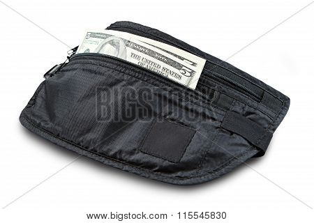 Money belt for anti-theft isolated on white. Clipping path