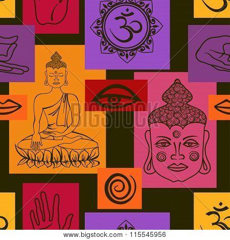 Seamless Pattern Of Buddhism Signs