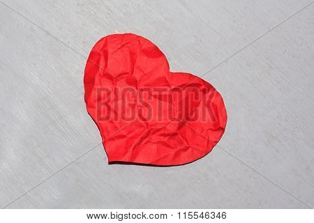 Crumpled Red Paper Heart