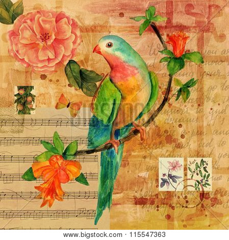 Vintage Collage With Sheet Music, Butterfly, Bird, Rose Et Al