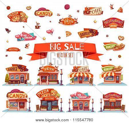 Cafe, restaurant, ice-cream shop, pizzeria and bakery. Vector set. Illustration