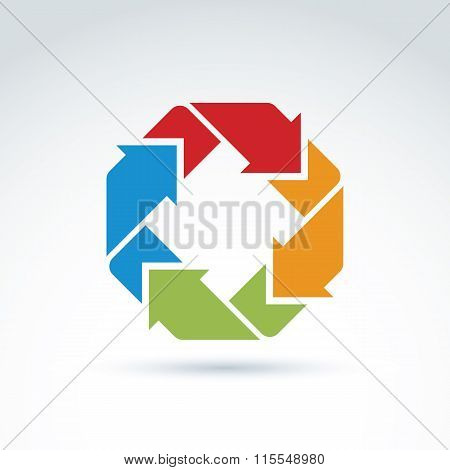 Vector abstract icon geometric symbol with multidirectional arrows
