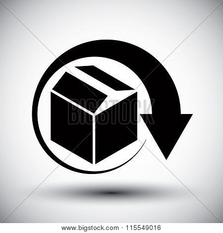 Gift Delivery Conceptual Icon, Simple Single Color New Idea Vector Symbol.