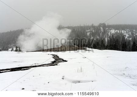 Old Faithful Geyser Winter