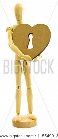 Wooden Male Person With Heart With Lock Key