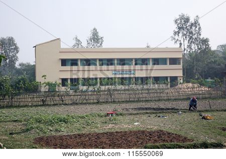 KUMROKHALI, INDIA - JAN 16: Father Ante Gabric Memorial School. The school is named after a famous Croatian Jesuit missionary Ante Gabric. in Kumrokhali, West Bengal, India Jan 16, 2009.