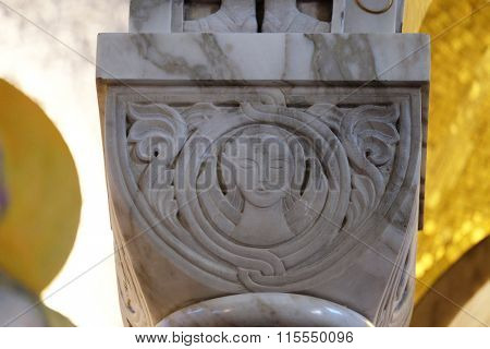 ZAGREB, CROATIA - JANUARY 31: The symbol of St. Matthew the evangelist on the pillar in the church of Saint Blaise in Zagreb, Croatia on January 31, 2015
