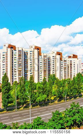 Kiev. Cityscape. Buildings, Road, Trees.