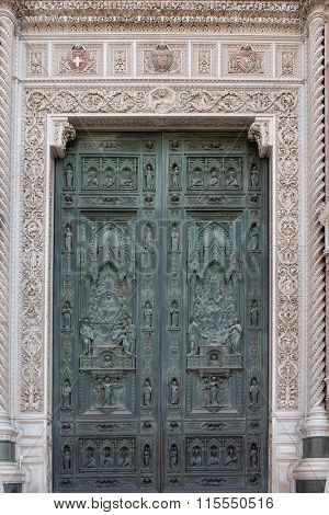 FLORENCE, ITALY - JUNE 05: Beautiful doors of Cattedrale di Santa Maria del Fiore (Cathedral of Saint Mary of the Flower) is the main church of Florence, Italy on June 05, 2015