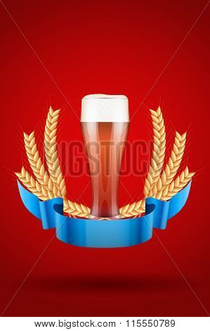 Brewery Label with red beer glass and malt