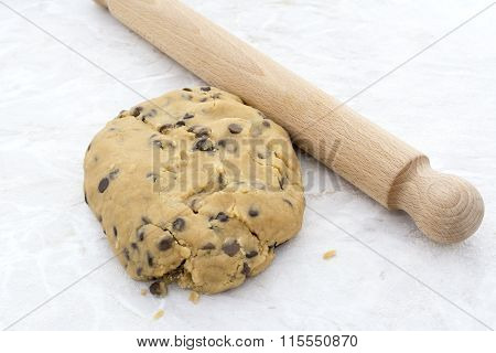 Chocolate Chip Cookie Dough With A Rolling Pin