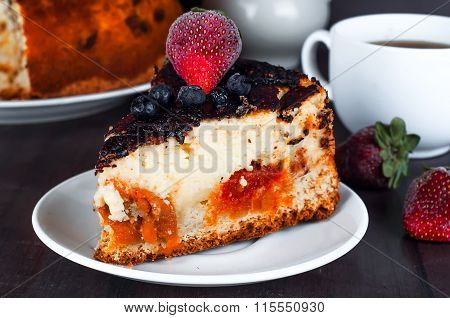 Cottage Cheese Dessert With Chocolate Sauce Anddried Apricots,