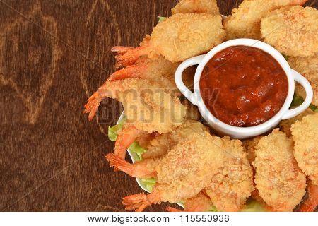 closeup shrimp with seafood sauce