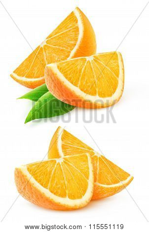 Two Slices Of Orange Fruit Isolated