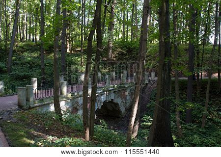 View of the old brick bridge in a Moscow Park. Moscow. Russia.