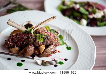 Rack Of Lamb With Mushrooms And Roast Potatoes