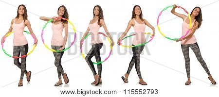 Set of photos with woman and hula hoop