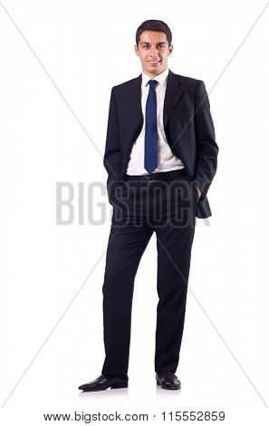 Businessman in formal attire isolated on white