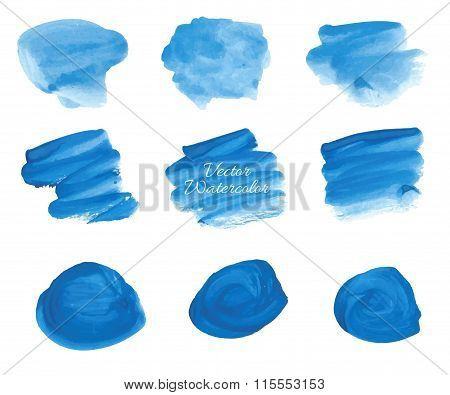 Blue vector watercolor stains set
