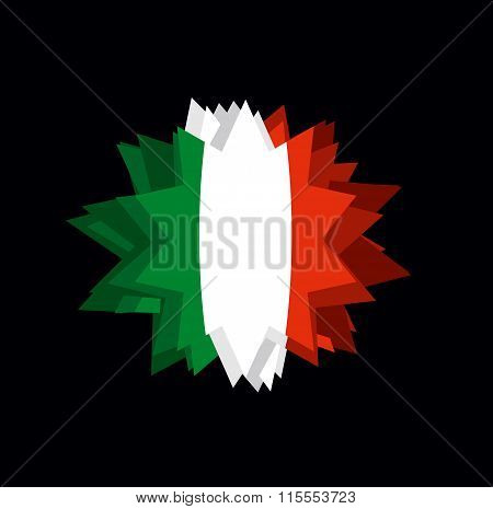 Flag Italy Pointed Star. Abstract Flag Of Italian State. Barb On Black Background. Crystal Italy
