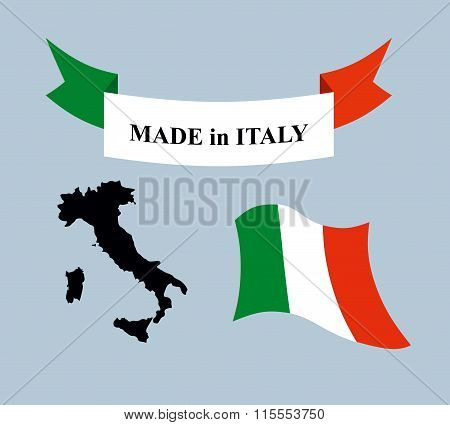 Set Template For Italy. Map Of Italy. Ribbon Made In Italy. Logo For Italian Production. Evolving Fl