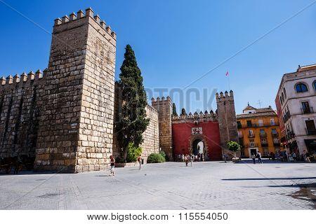 Gate to Real Alcazar Gardens in Seville