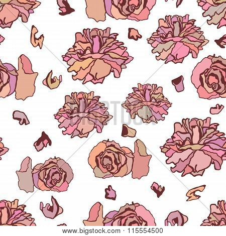 Seamless pattern with dried roses