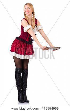Young waitress with tray on white