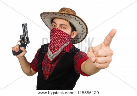 Young cowboy with weapon isolated on white