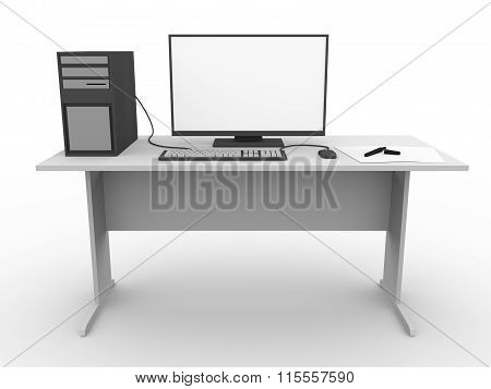 Modern Workspace With Computer