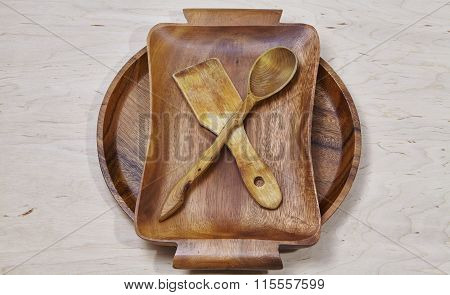 wooden tableware background