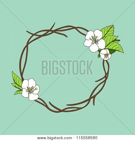 vector hand drawn wreath with cherry blossom on branches round frame