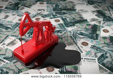 Pumpjack And Spilled Oil On Russian Rubles