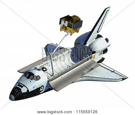 Space Shuttle Deploying Satellite On White Background